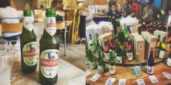 写真:インドのビールと日本酒