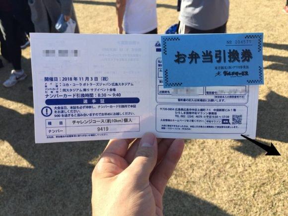 写真:ひろしま国際平和マラソン 選手証とお弁当引換券