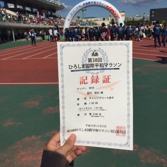 写真:ひろしま国際平和マラソン 記録証